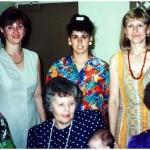 Top, from left: Chris Lasica Ryves, Rosa Farrugia Lasica, Mary Lasica Turalinski; bottom: Janina Sudol Lasica, Maria Lasica Bordon and Stephanie Lasica Sudol at Rosa's baby shower in early 1995.