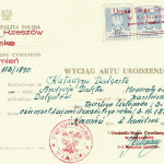 Katarzyna Delenta's birth certificate, reissued in 1952. It says:  REPUBLIC OF POLAND Province RZESZOW District NISKO The Civil Law Office KAMIEN No. 113/1890  EXTRACT FROM BIRTH CERTIFICATE  I attest that KATARZYNA DALENTA daughter of ANDRZEJ DALETA and HONORATA nee LACH of parents DALENTA(s) was born in KAMIEN the third of November (3.11) the year of one thousand EIGHT HUNDRED NINETY, 3.11.1890 KAMIEN, 2 APRIL, 1952