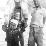 Kathy Lasica with baby brother Joe and cousin Walter Wojcick Jr. at Greenwood Lake, spring 1956.
