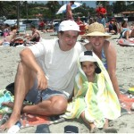 J.D., Mary and Bobby (in his All Blacks cap sent by a friend in New Zealand) at La Jolla Shores, Calif., July 1, 2004.