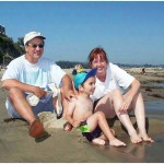 The Lasica crew on the beach at Capitola, June 2002.