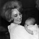 Kathy Lasica Schiro and daughter Dawn at Dawn's christening, around late August 1970.