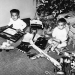 Joe, left, and George Lasica on Christmas morning 1958.