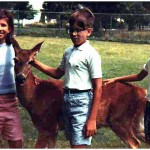 Gail Rashevich and cousins Joe and George Lasica with a white-tailed deer, around 1966.