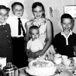 A joint birthday party for Duke Stagg (5) and George Lasica (2) in September 1959. From left, Jessica Stagg, Duke, Kathy Lasica holding George, Ken Sporn, Joe Lasica.