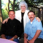 Cousins J. Martin Lasica, Kathy Lasica Schiro and Duke Stagg in May 2000 at Edson and Tory Lasica Stagg's backyard patio in Flemington, NJ.