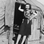 Lillian Lasica outside George Rashevich's barracks at Fort Dix during World War II.
