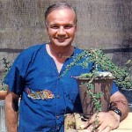 J. Martin Lasica with a bonsai tree.
