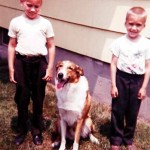 Joe and George Lasica at the DeVries house with Buddy, around 1963.