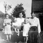 Jadwiga and Jozef Lasica with grandchildren Maria, Janina and Stella Lasica on the family farm in Spie, Poland, around 1957.