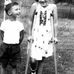 Kathy Lasica with cousin Ken Sporn in 1954. Kathy had Legg-Calve Perthes disease as a child and needed crutches from age 7 to 9.