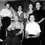 Front row: George Lasica and Tory Lasica Stagg; back row: Loddie Przybysz Lasica, Katherine Delenta Lasica, Jean Lasica Wojcik and Vi Lasica Maciag, around 1958.