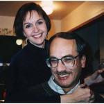 Mary Schrader and JD Lasica at Judy Green's house in Sacramento in December 1994 at the Sacramento Bee holiday party.