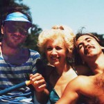 Joe, Kathy and George Lasica go river rafting on the American River during their visit to Sacramento in July 1985.