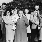 Helen and George Rashevich, Lillian Lasica holding daughter Kathleen, Mary Schepper Sporn, Lorraine Puzio and Ernie Sporn, and Midge Sporn. Photo taken in 1948 by Emil Lasica.
