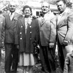 "From left, Walter Wojcik, Emil Lasica, his mother (""Babci""), John Lasica, George Maciag and his son Gregory, circa 1951."