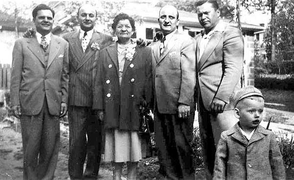 "From left, Walter Wojcik, Emil Lasica, his mother (""Babci""), John Lasica, George Maciag and his son Gregory, circa 1951."