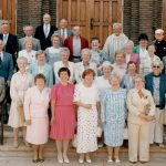 In 1987, the Holy Trinity (Grammar) School Class of 1937 got together on the steps of the church in Passaic, NJ, for a 50th anniversary reunion.