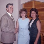 Ernie Sporn, Kathy Lasica and Tory Lasica Stagg in Emil Lasica's house around 1962.