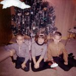 George and Joe Lasica with their cousin Gale Sporn during Christmas at the Sporns' house around 1962.