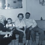 Mary Schepper Sporn holding her grandson George Lasica alongside Gladys and Dan DeVries in 1958.
