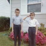 Joe and George Lasica in front of their house at 266 Washington St., East Paterson (now Elmwood Park), NJ around 1961.