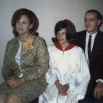 Kathy Lasica and fiance Michael Schiro with Kathy's godchild, Gale Sporn, at Gale's confirmation, around 1966.