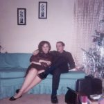 Kathy Schiro and Michael Schiro at the Lasica's house during Christmas around 1966.