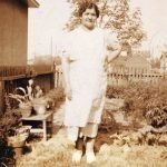 Katherine Delenta in her back yard in East Paterson, NJ, probably in the 1940s or 1950s.