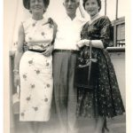 Margaret and Frank Schepper with daughter Gertrude on the S.S. Homeland during a trip to Europe in 1954.
