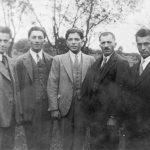 We think that's Josef Schepper, second from right, with four of his sons in a photo likely taken in Punitz, Austria, perhaps around 1920. Frank (Franz) Schepper is in the middle.
