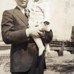 Frank Schepper holding daughter Gertrude around 1937.