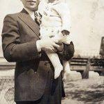 Frank Schepper holding daughter Gertrude around 1937.